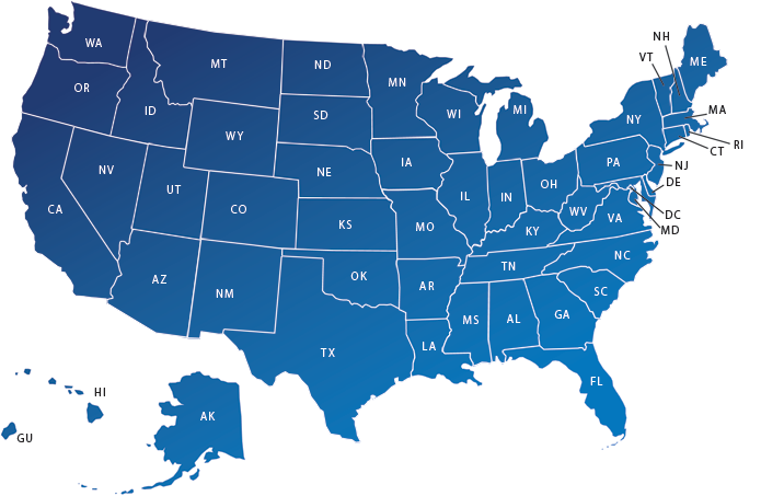 Lights On Afterschool - Map of us blue